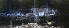 Au fond La Vie. 21st C original contemporary abstract diptych painting by Bost