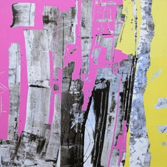 Urban Rose et Jaune. 21st C original contemporary painting by Pascal Bost