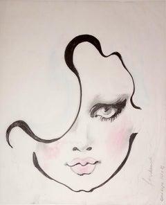 """One Eye"", Illustration, pencil, ink, chalk on velum, Barbara Hulanicki, 2016"