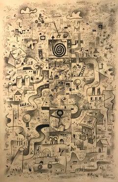 """""""Laberinto Hacia Las Nubes"""" NOA, Cuban Surrealism, Mixed Medium on Canvas"""