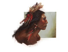"""NATIVE AMERICAN III, 27""""x27"""", Burlap Stitched to canvas and paint"""