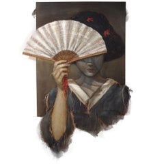 """Asian Woman With Fan, 2015, Burlap Stitched to Linen and paint. 60""""x43"""""""