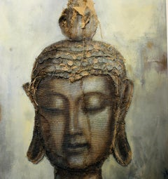 "Buddha, Burlap Stitched to linen and paint, 53""x33.5"". Artist: Loretta Tearney"