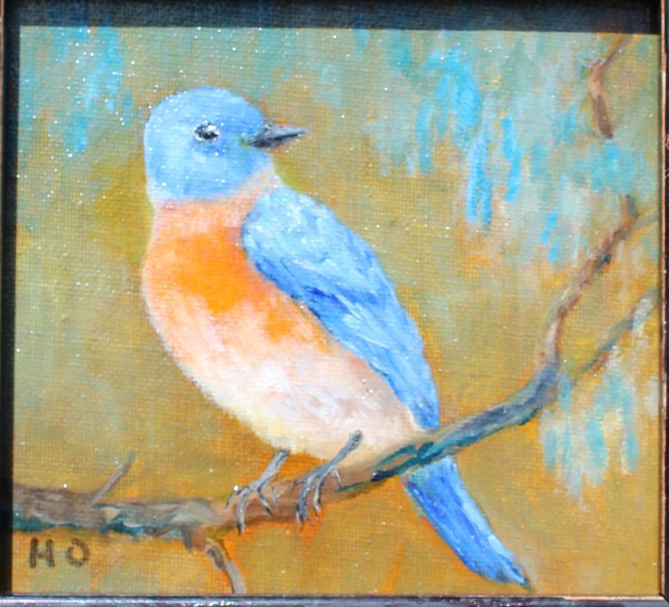 I am so cool by Helga Ohannesian, Blue bird. Oil on canvas.
