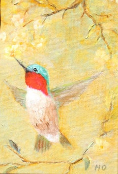 Hummingbird,  a quick energy drink. Original oil on canvas .