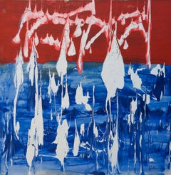Abstract Thoughts, Red, blue and white, 36x36 in. acrylic on canvas
