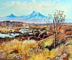 Mt. Ararat, near the Ardashat area with Thorn tree, Armenia