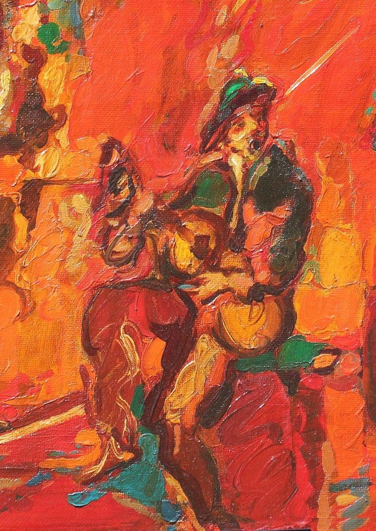 Robert Elibekian, Concerts, 25.5x19.5 in. Original oil on canvas  - Orange Figurative Painting by Robert Elibekyan