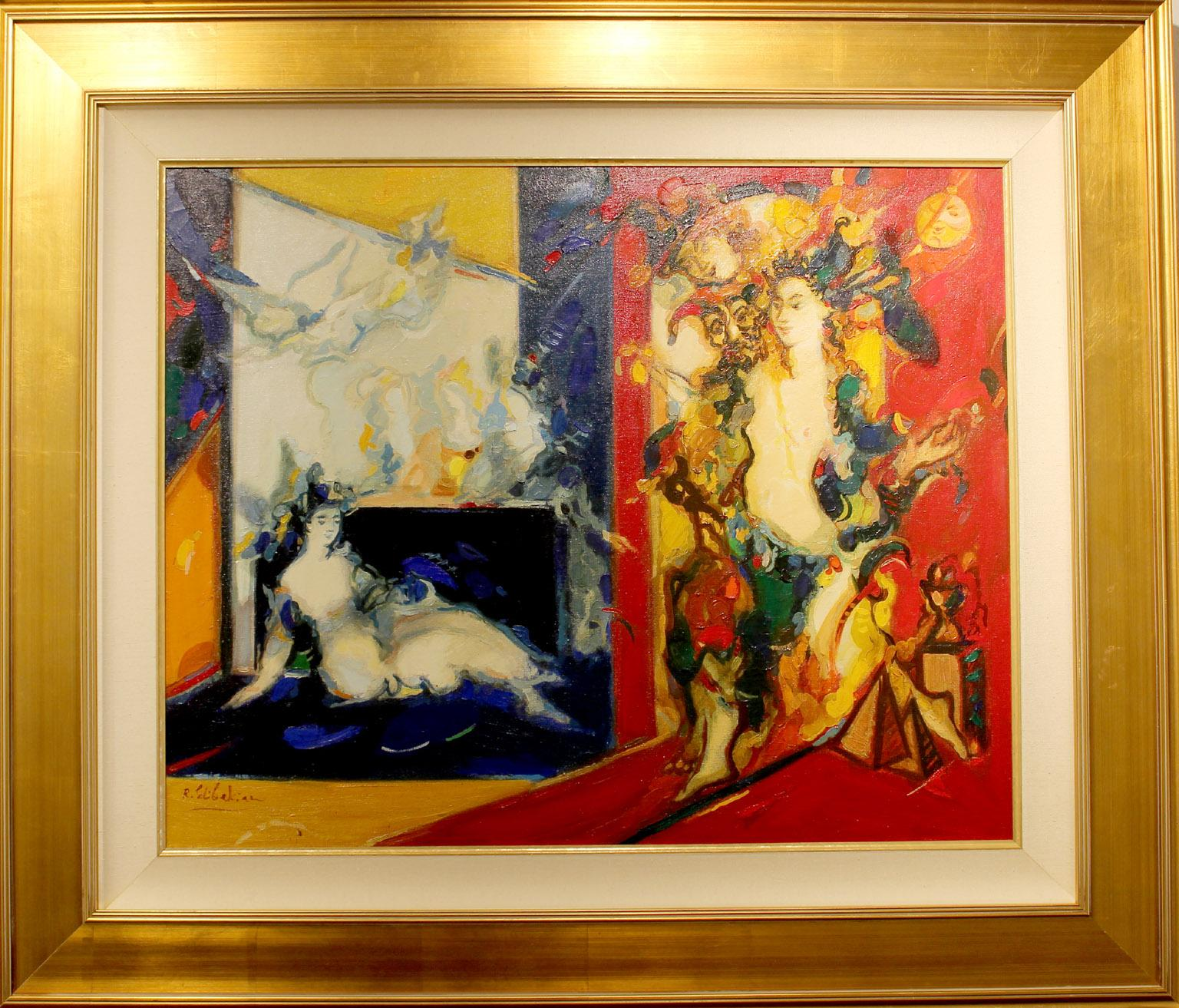 """Spectacle, year 2002, 26""""x32"""" oil on canvas, framed size 36x42 in."""
