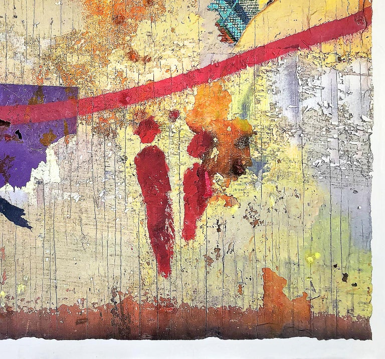 Exclamation, mixed media on wood panel.  Mixed media photographs inspired by subjects on boarded-up construction sites mostly from downtown Los Angeles where all the elements of light, color and design found in formal art, but existing only for a