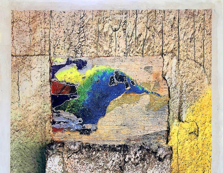 Paradise Bird, 24x36 inches, mixed media on wood panel - Beige Animal Painting by Armen Edgarian