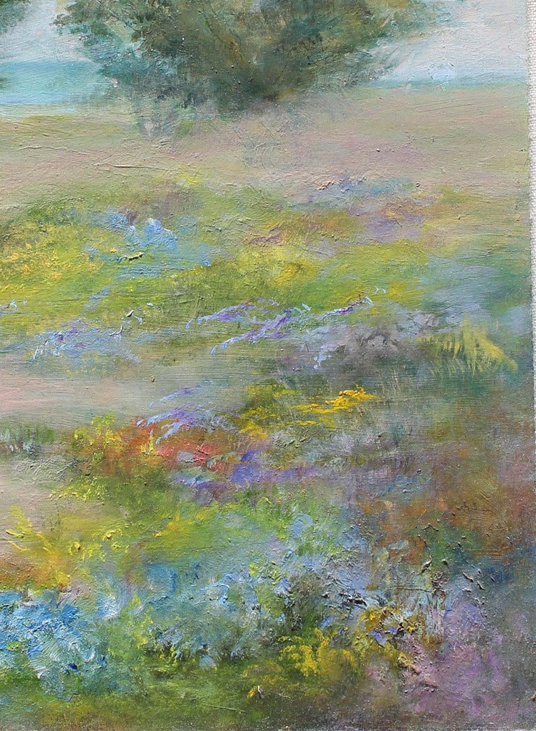 Scenic California coast, oil on board - Gray Landscape Painting by Helga Ohannesian