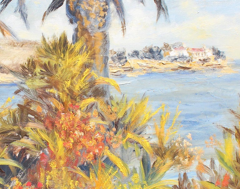 Palm Beach  - Brown Landscape Painting by Félix Tisot