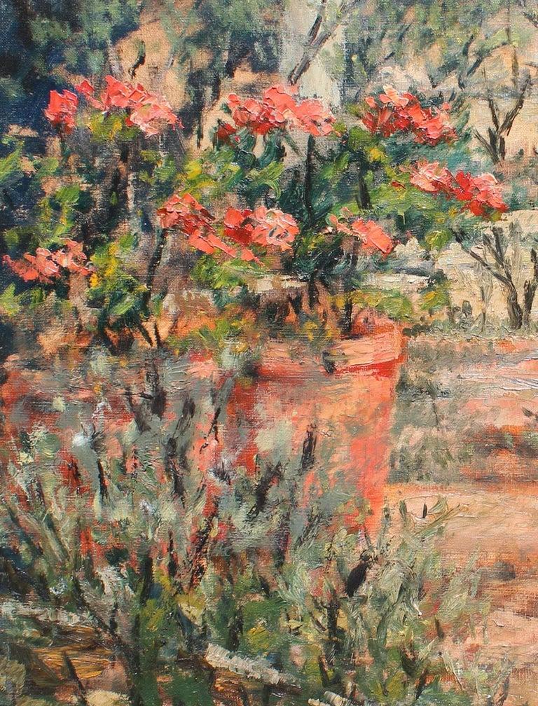 Botanical Garden - Brown Landscape Painting by Félix Tisot