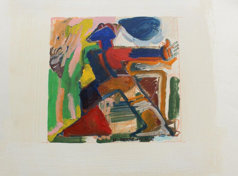 Untitled, Abstract Figure, 1971 - Painting by Harry Bertschmann