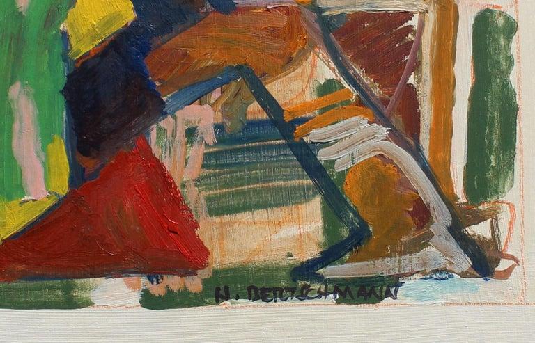Untitled, Abstract Figure, 1971 - Beige Figurative Painting by Harry Bertschmann