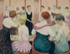 Powder Room at the Dorchester, 1952 - 20th Century British Oil Painting
