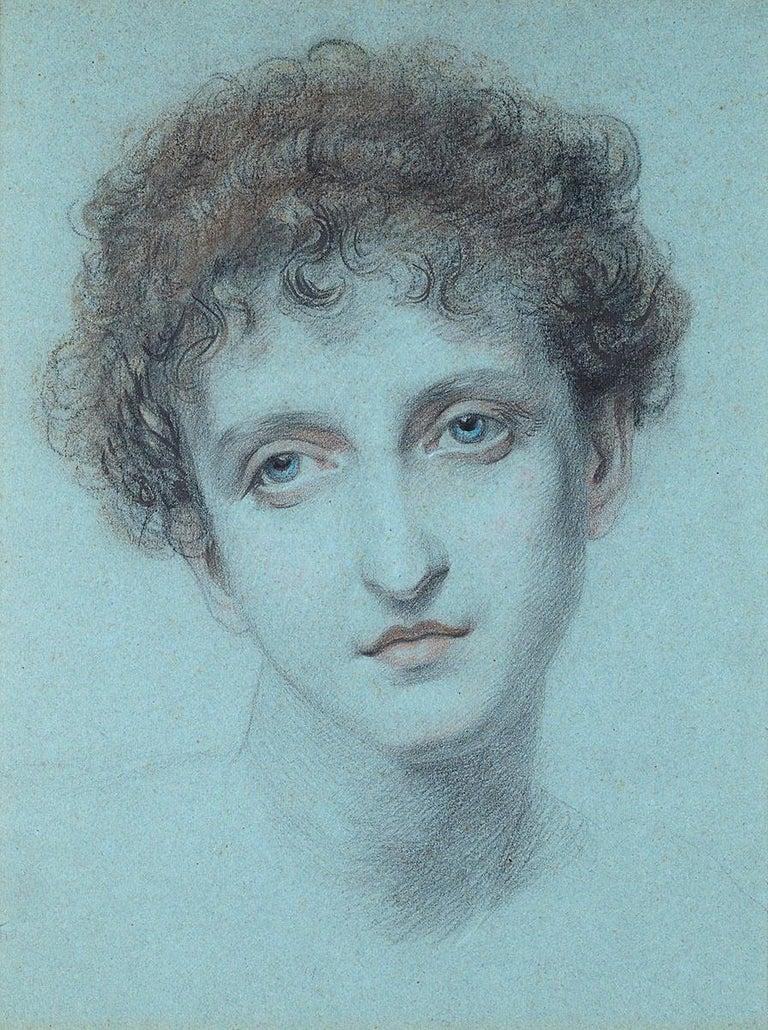 Frederic James Shields, ARWS Portrait - Ellen, A Greek Model - PreRaphaelite chalk portrait drawing
