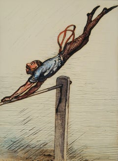 Ernest Griset - The Long Swing - Pen and ink and watercolour