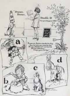 Dunce, Dunce, Double D - Original pen and ink 1920s Children's Book Illustration