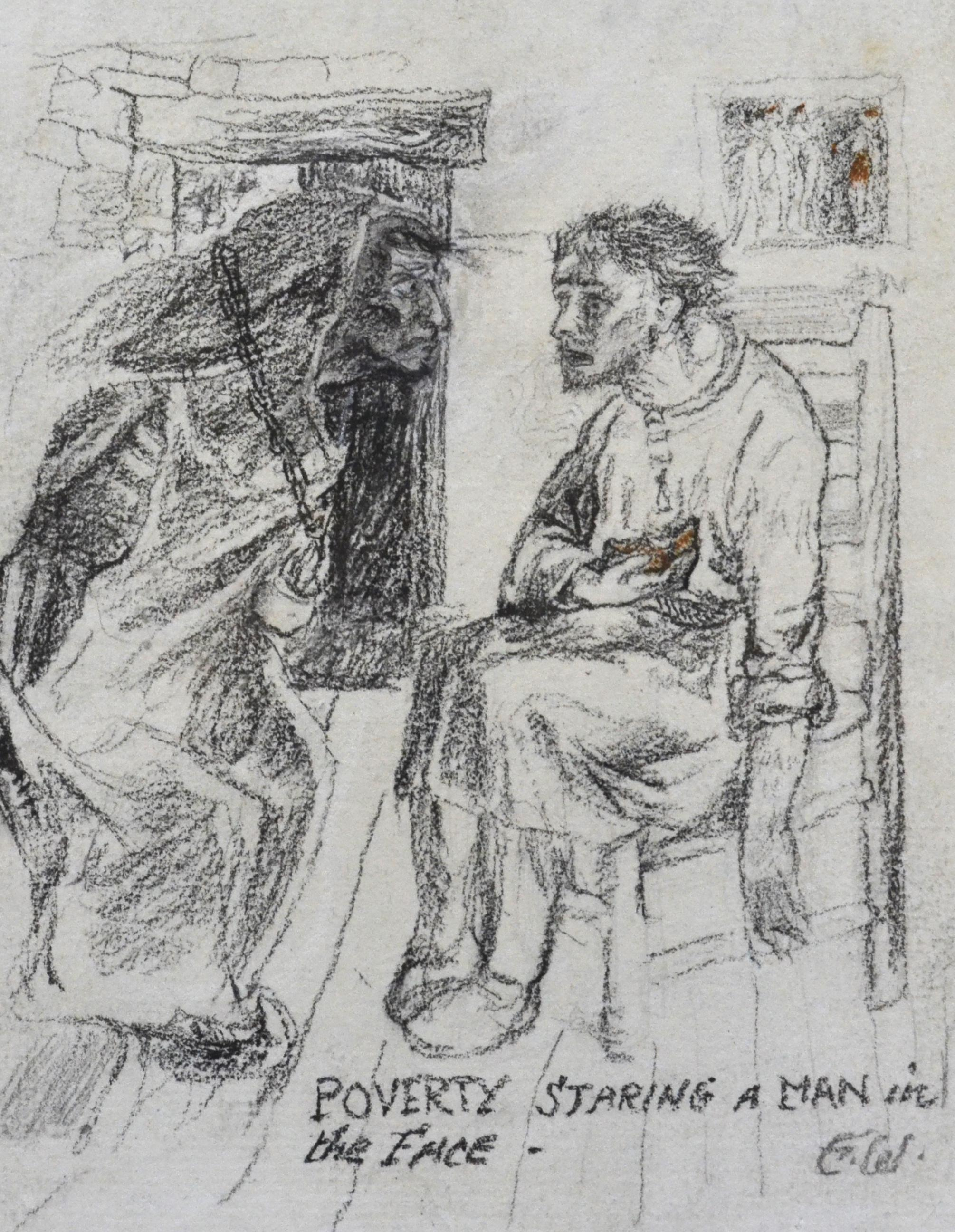 Poverty Staring a Man in the Face - British Arts & Crafts drawing, circa 1900