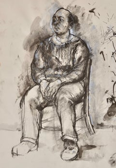 Seated Man - 20th Century British figure drawing by Carolyn Sergeant