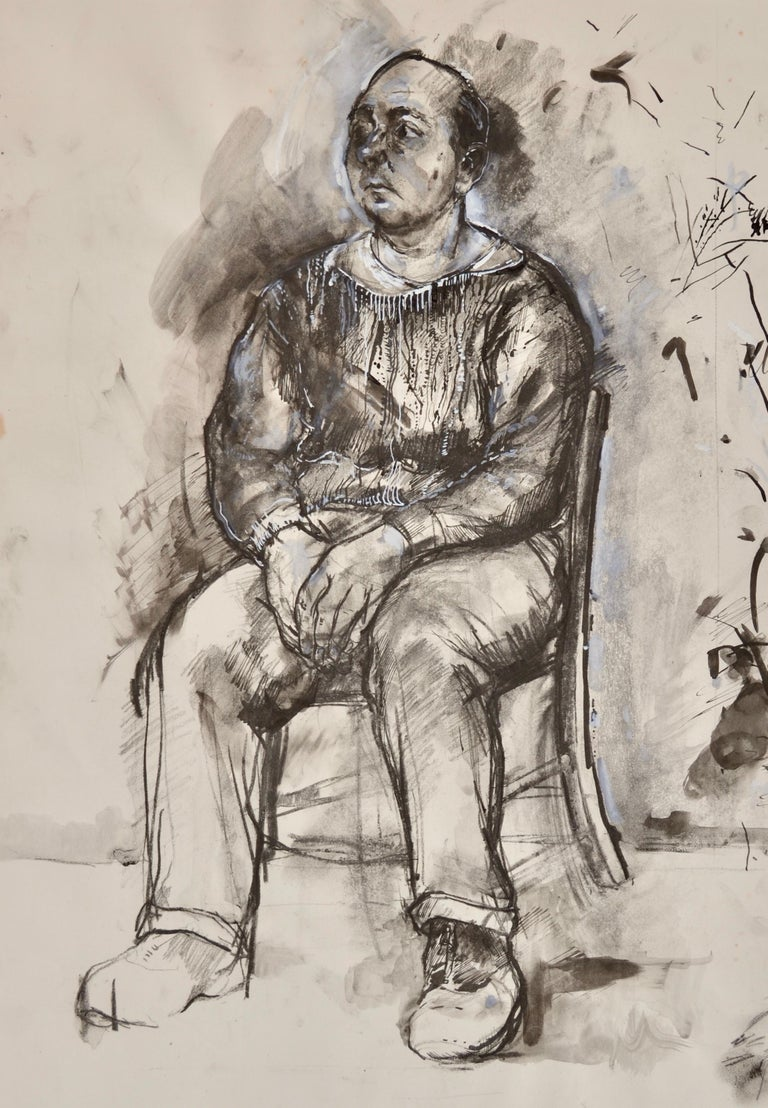 Carolyn Sergeant  Figurative Art - Seated Man - 20th Century British figure drawing by Carolyn Sergeant