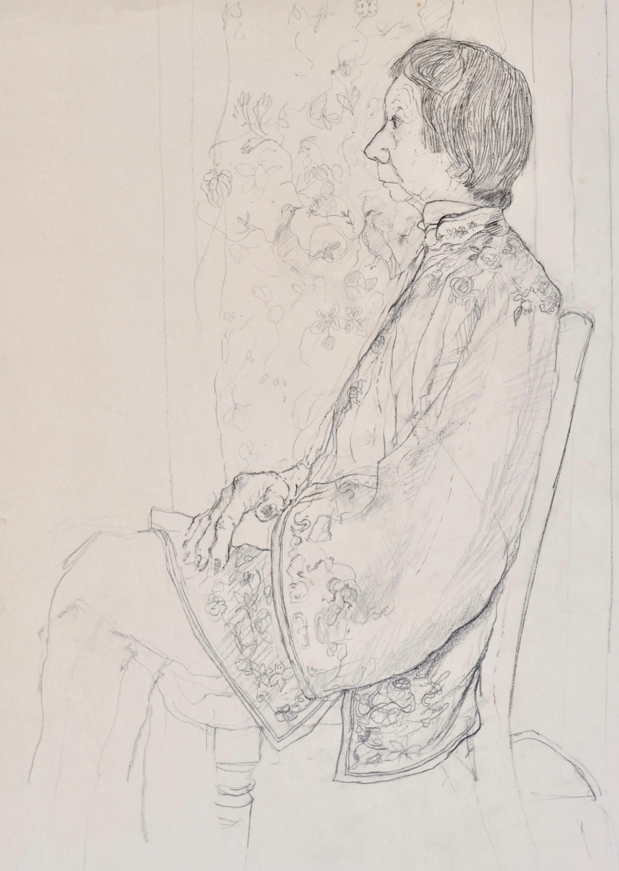 The Chinese Jacket - 20th Century British drawing of a Woman