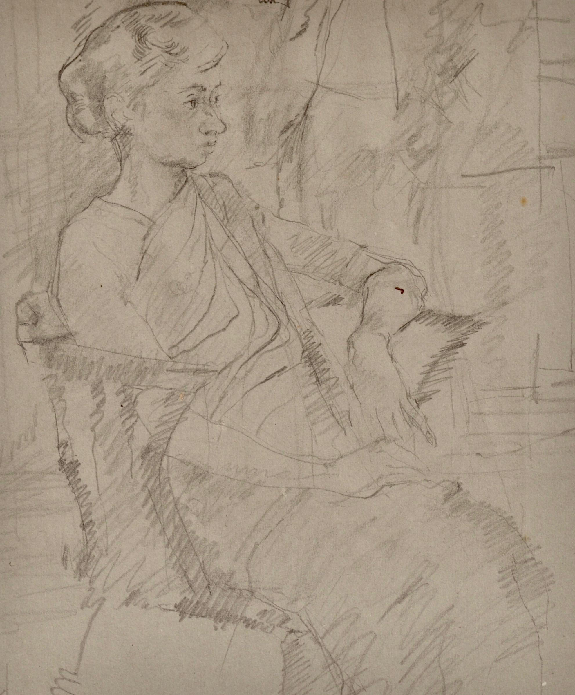 Girl in a Sari - 20th Century pencil drawing by Carolyn Sergeant