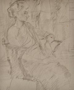 Girl in a Sari - 20th Century pencil drawing by Carolyn Sergeant