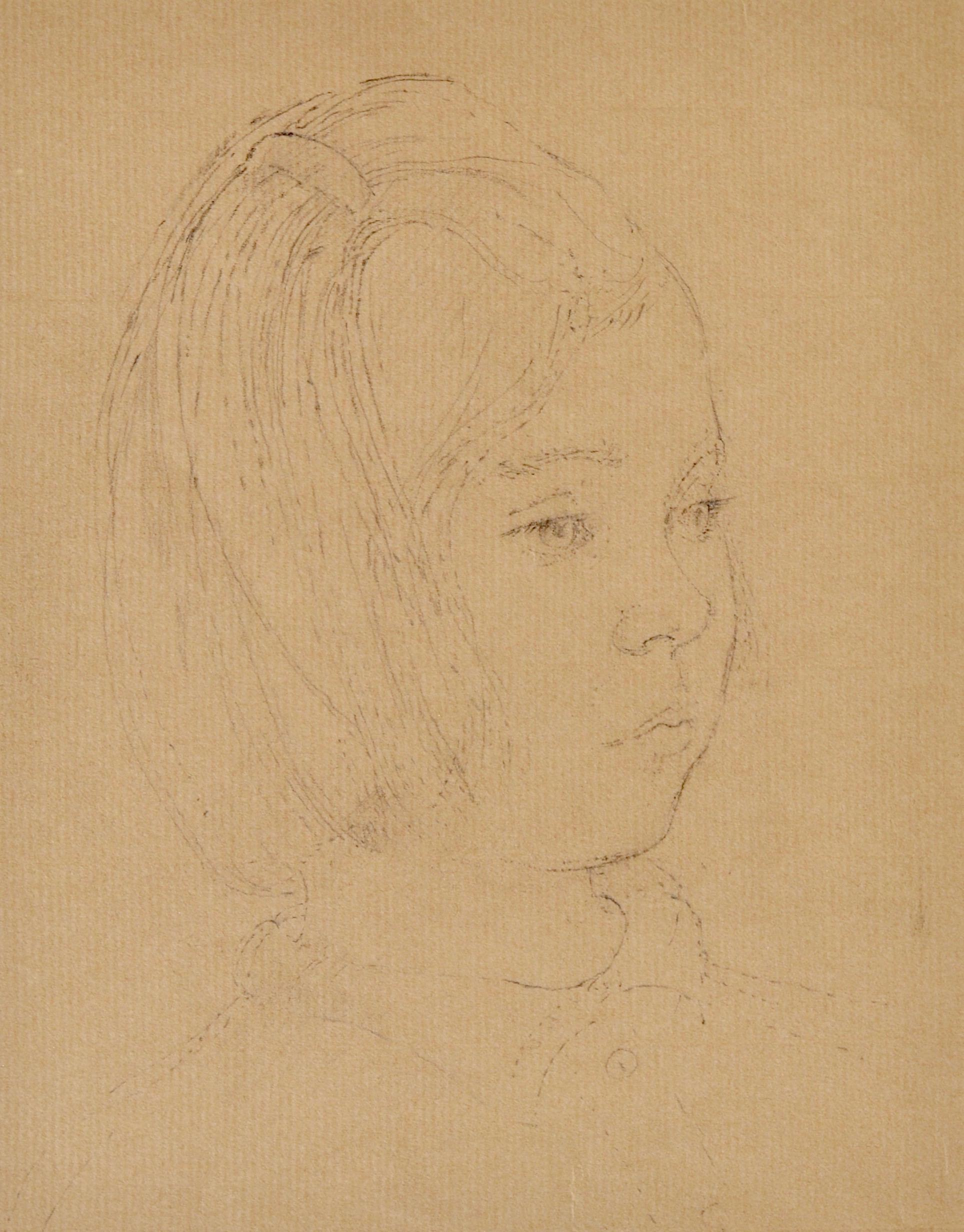 Young Girl - 20th Century British Portrait drawing by John Sergeant