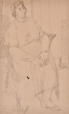 Woman in a Chair - 20th Century British portrait drawing by John Sergeant