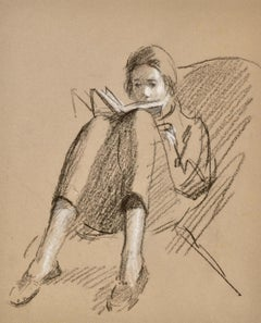 Reading - 20th Century British drawing by John Sergeant