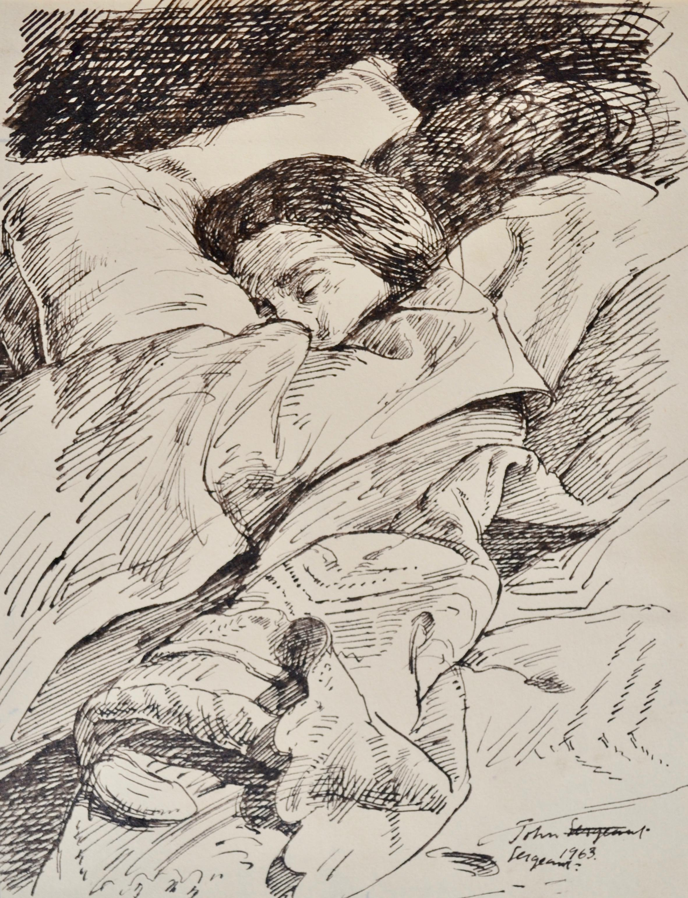 Sleeping - 20th Century British pen and ink drawing by John Sergeant