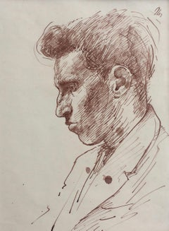 Portrait of a Young Man - 20th Century British Drawing by John Sergeant