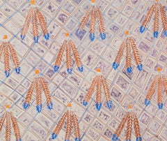 Indian Feather - Original Fashion Textile Design Watercolour by Zandra Rhodes