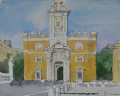 Baroque Church - 20th Century British Watercolour by Barbara Dorf