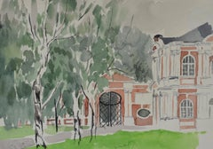 Gateway - 20th British Century watercolour of a Baroque palace gateway