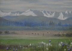 Islamabad - Pre-Raphaelite landscape watercolour by Edward Clifford