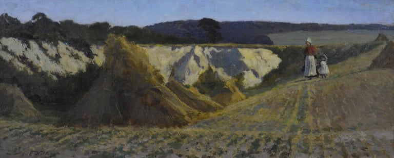 ALFRED WITHERS (1856-1932)  A Break in the Field  Signed; signed and inscribed with title and the artist's address on a label attached to the frame Oil on canvas  25.5 by 60.5 cm., 10 by 23 ¾ in. (frame size 46.5 by 82 cm., 18 ¼ by 32 ¼