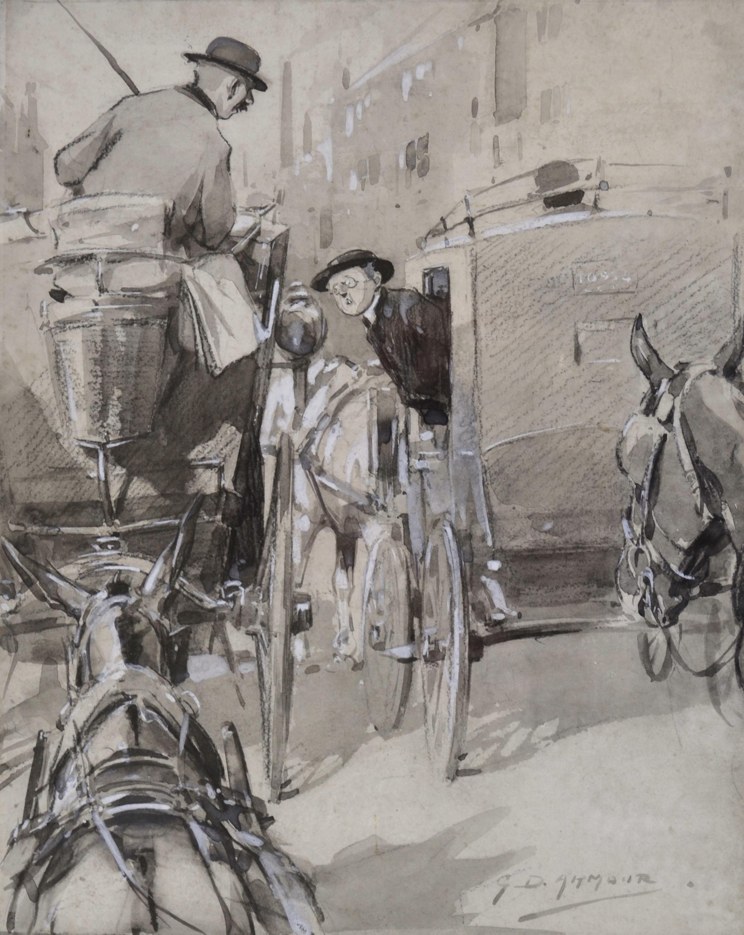 London Cabman - 19th Century British illustration by equestrian artist Armour