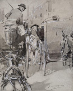 London Cabman - 19th Century British illustration by equestrian artist Armour