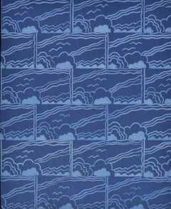 Blue Skies - Original 1930s Century British textile or fabric design