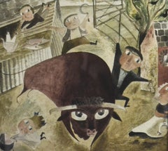 Bull Loose - 1940s naive idiosyncratic British watercolour
