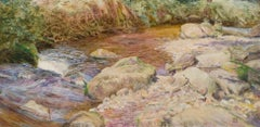 Devon Trout Stream - British Pre-Raphaelite landscape oil painting