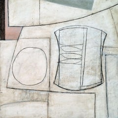Kitchenette - Modern British Abstract oil by Geoffrey Robinson