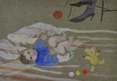 Play Rug - 20th Century British Watercolour of Child Playing