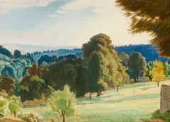 View from the Artist's Garden, Painswick - Late Pre-Raphaelite British landscape