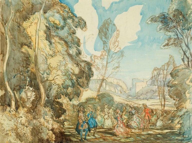 William J Clare Gaskell, RWS Landscape Art - Fete Champetre - Romantic 1930s British Watercolour drawing