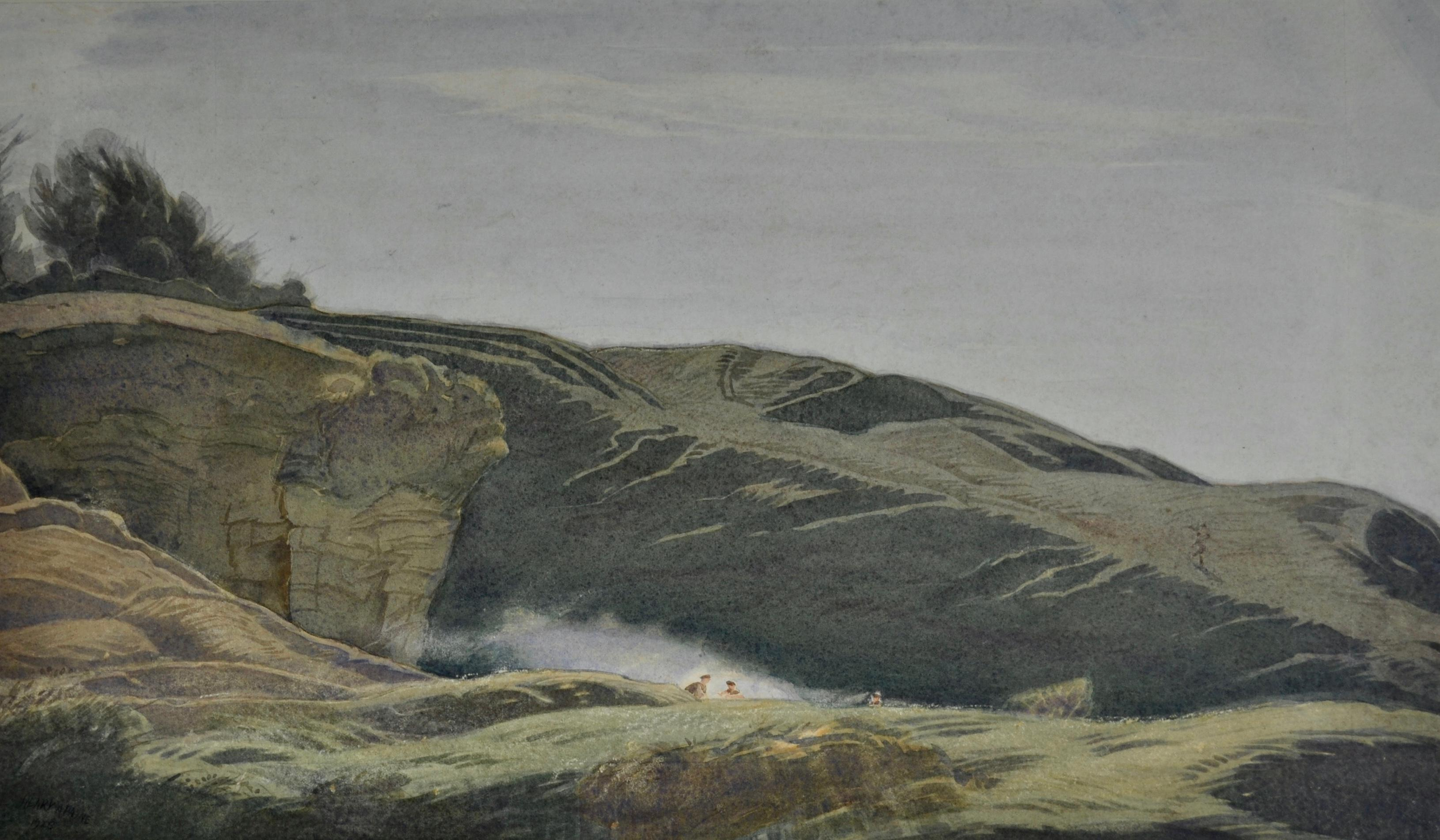 Quarry at Culver Hill, Amberley, near Stroud - Arts & Crafts watercolour